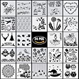 YUEAON 24 PACK drawing and painting stencils templates for bullet journal ,scrapbooking,planner,cake decoration,diy graffiti craft