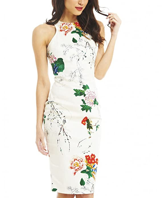 SheIn Women's White Sleeveless Fashion Floral Print Dress