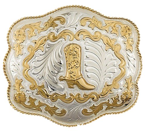 Western Express Extra Large German Silver Cowboy Boot Belt Buckle