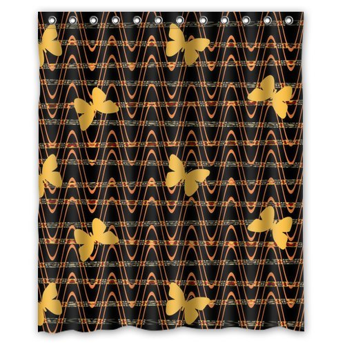 """Yellow Butterfly Flying In Black Sound Wave White Stripe Shower Curtain 60""""X 72"""" front-1060808"""