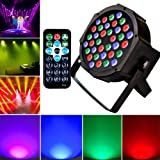 Stage DJ Lights 36 Leds Disco Lighting- Sound Activated Strobe Club Par Can Lights RGB Party Lights by Remote and DMX Control, Best for Wedding Church Party Birthday Disco DJ Show (Black 36) (Color: 1 Pack, Tamaño: small)