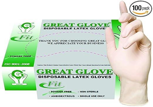 GREAT GLOVE 20015 fit-L-BX Latex Powder-Free fit 4.5-5 mil General Purpose Glove, Large, Natural (Pack of 100)