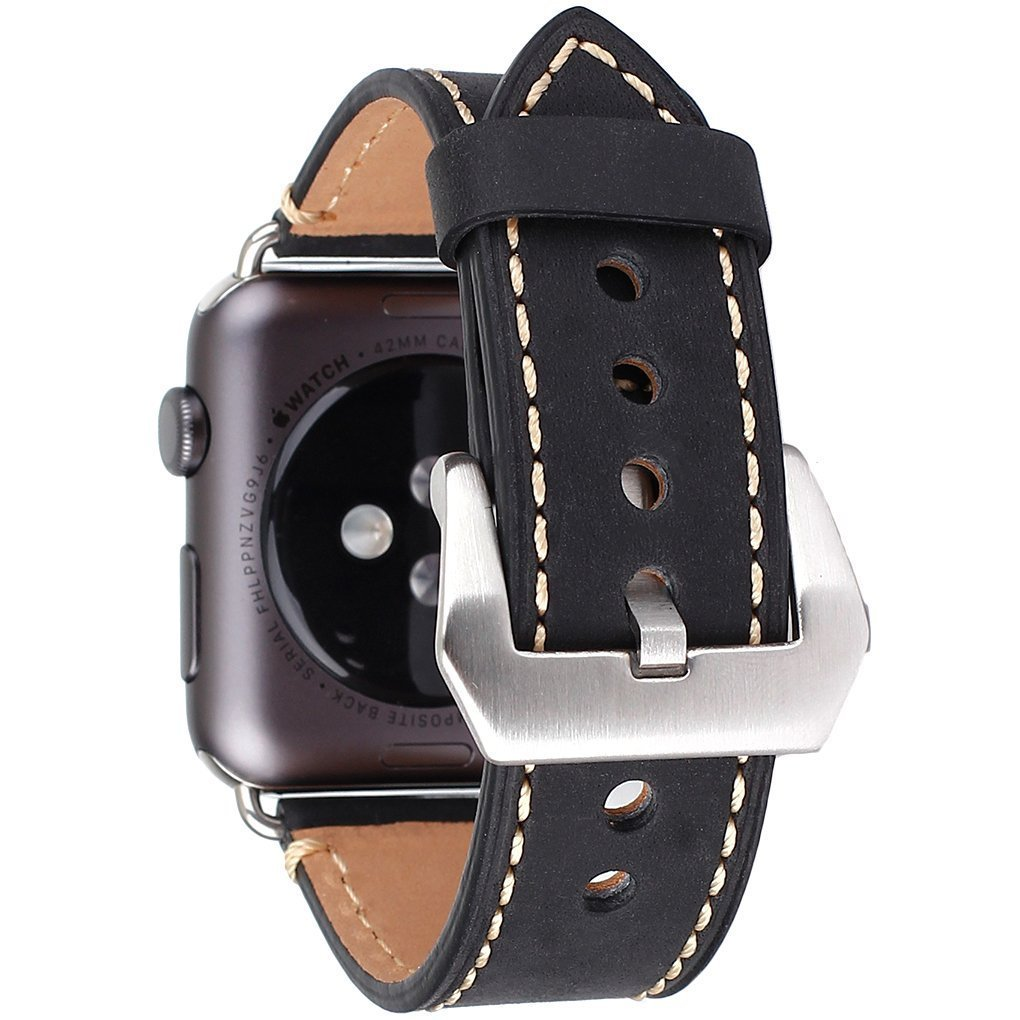 Apple Watch Band, 42mm iWatch Band Strap Premium Vintage Genuine Leather Replacement Watchband with Secure Metal Clasp Buckle for Apple Watch Sport Edition 4