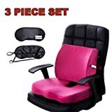 Lower back Support Orthopedic Memory Foam Seat Cushion and Lumbar Support Back Pillow for Tailbone Coccyx Sciatica Pain Relief Office Chair and Car Seat Cushion with Adjustable Strap Qutool (Rose Red)