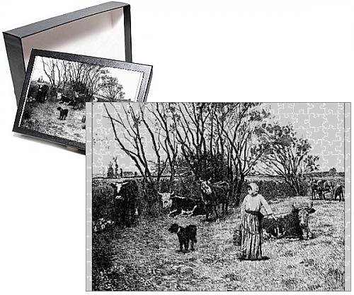 Photo-Jigsaw-Puzzle-of-Antique-illustration-of-landscape-with-animals-and-farmer