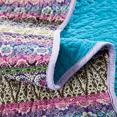 xql 100 cotton boho stripe 3 pieces quilt set king size blue home garden linens bedding. Black Bedroom Furniture Sets. Home Design Ideas
