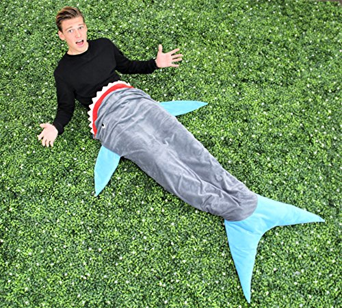 Shark Sleeping Bag Blankie - Super Soft and Comfy - For Teen or Adults (Shark Sleeping Bag Pillow compare prices)
