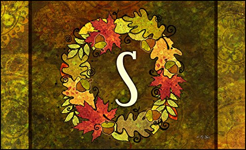 Toland Home Garden Fall Wreath Monogram S 18 x 30-Inch Decorative USA-Produced Standard Indoor-Outdoor Designer Mat 800138