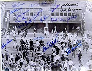 Polo Grounds autographed 11x14 photo with 18 signatures Last Game New York Giants...