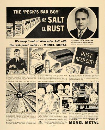 1936 Ad Monel Metal Worcester Salt Rust Charles Dickson - Original Print Ad