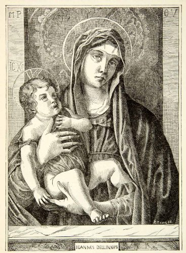 1888 Print Portrait Madonna Giovanni Bellini Baby Jesus Christ Mary Mother Child - Relief Line-Block Print front-1066692