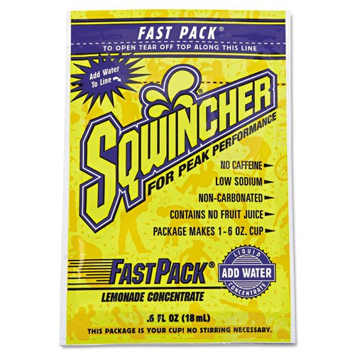 Sqwincher Fast Pack Drink Package, Lemonade, .6Oz Packet, 200/Carton