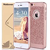 iPhone 6s Plus Case, Moleboxes™ Luxury Hybrid Beauty Crystal Rhinestone With Gold Sparkle Glitter PC Hard Protective Diamond Case Cover For iPhone 6s/6 Plus (Rose Gold)
