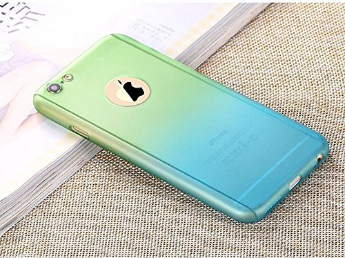 "G M Brothers *DUAL GRADIENT COLOR 360 DEGREE FULL BODY PROTECTION* Front + Back Cover Case For Apple iPhone 5/5S/SE 4.0"" (Green with Blue)"