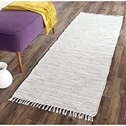 Safavieh Montauk Collection MTK753A Hand Woven Silver Cotton Runner, 2 feet 3 inches by 11 feet 7 inches (2\'3\