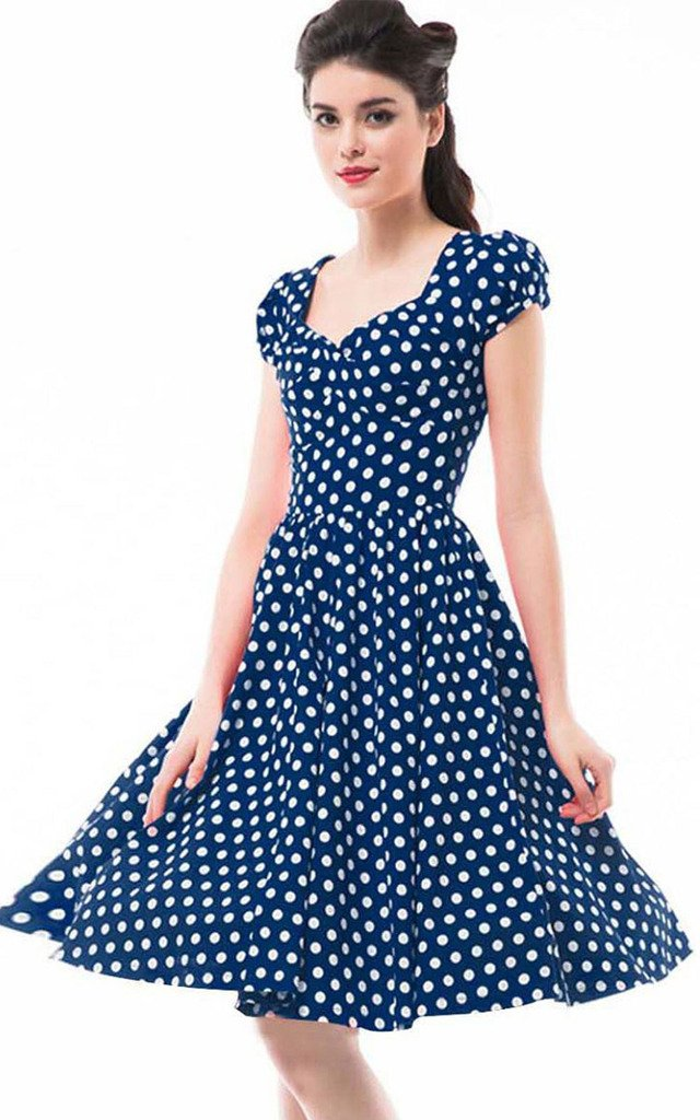 Betty Rose Women's Vintage Style Polka Dot Cap Sleeve Flare Dresses(size 2-18 ) 0