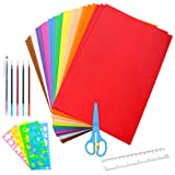 Caydo 30 Pieces A4 EVA Craft Foam Sheets 2mm Thick Assorted Colorful Crafting Sponge with Tools for Classroom Party Kids Art & Crafts Projects
