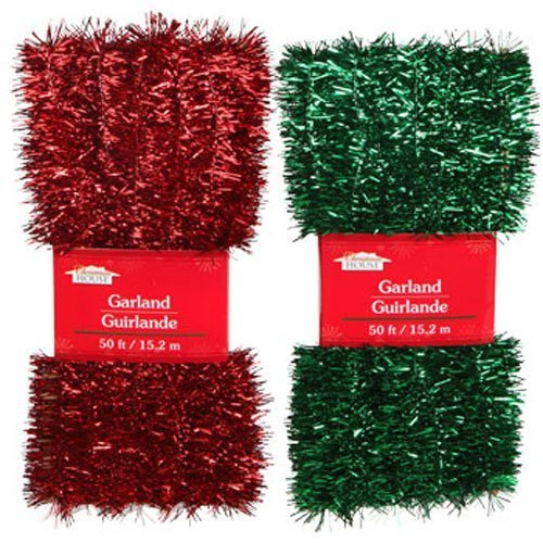 Christmas Decor - Red & Green Tinsel Garlands, 50 ft. (Set of 2) by Christmas House (Sleeping Mask Cookie Cutter compare prices)