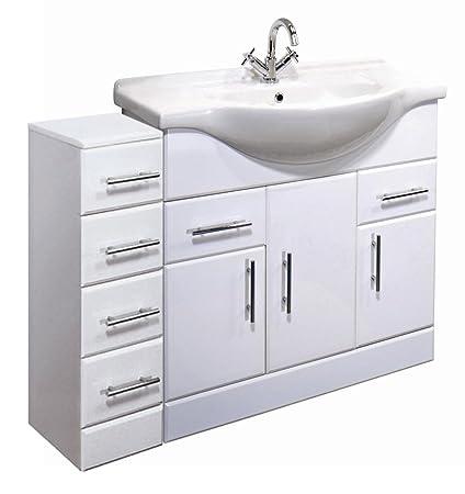 1200mm High Gloss White Bathroom Furniture Set - Vanity Cabinet Basin Unit & 4 Drawer Cupboard
