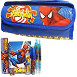 Spiderman Blue Double Zipper Pencil Case with Stationery Set