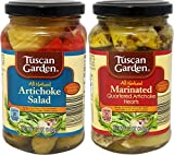 Artichoke Variety 2 Pack - Marinated Quartered Artichoke Hearts and Artichoke Salad - Tuscan Garden
