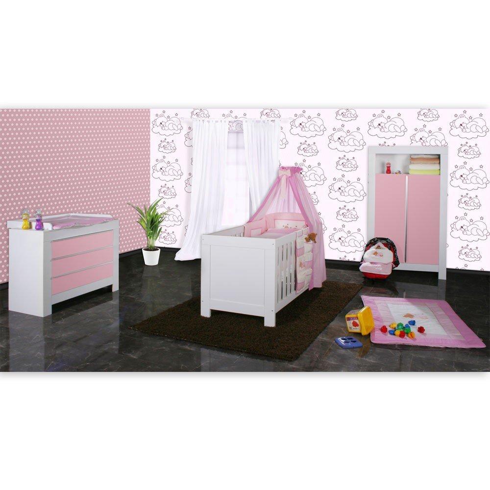 Babyzimmer Felix in weiss/rosa 21 tlg. mit 2 türigem Kl + Sleeping Bear in rosa