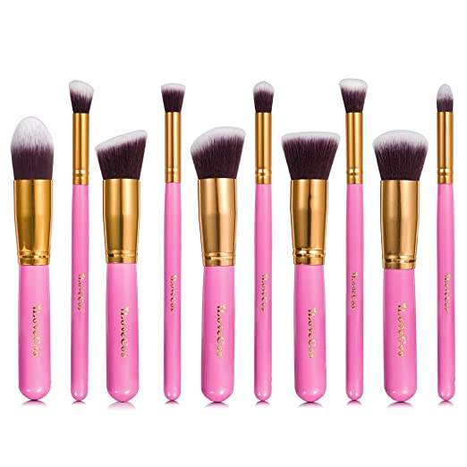 Makeup Brushes: iLoveCos Professional Cosmetic Brush Set for Liquid or Powder Foundation(10 Pieces Gloden Pink with Velvet Carry Bag)