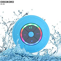 Exkokoro(TM)Water Resistant Portable Shower Bluetooth 4.0 Speakers Subwoofer, Colorful LED Light Effect, Strong Adhesion, Hands-free Calls, FM Radio for all Bluetooth Device.(Blue)