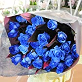 青いバラの花束 35本 ブルーローズ 薔薇 ブーケ