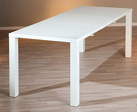 Table à manger extensible coloris blanc laqué - Dim : H 75 x P 90 x L 160/220 cm -PEGANE-
