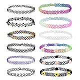 12PC Choker Rainbow Flowers Stretch Gothic Tattoo Henna Necklace
