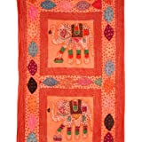 Rajrang Home Décor Patch Work Elephant Embroidered Peach, Rust Wall Hanging