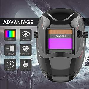 YESWELDER True Color Solar Auto Darkening Welding Helmet, Wide Shade 4/9-13 for TIG MIG ARC Weld Hood Helmet