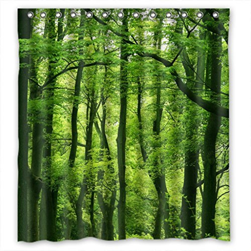 Beautiful Fresh Green Forest Fabric Shower Curtain 66(W)X72(H) (Green Shower Curtain compare prices)
