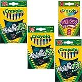 Crayola Metallic FX Crayons (3-Pack of 16) (Color: Orange, Tamaño: 3 Pack)