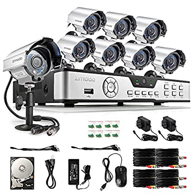 Zmodo 8CH HDMI 960H DVR 700TVL Outdoor Indoor Day Night IR-CUT CCTV Surveillance Home Video Security Camera System 1TB Hard Drive Motion Detection Push Alerts 2 Years Warranty