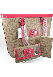 New Guess G Logo Purse Tote Hand Bag Checkbook & Wallet 3 Piece Matching Set Coral Beige