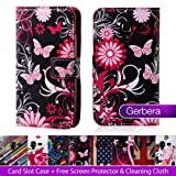 32nd® Designer book wallet PU leather case cover for Samsung Galaxy Ace 4 SM-G313 + screen protector and cloth - Gerbera