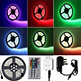 ALED LIGHT®Waterproof SMD 5050 RGB LED Strip Light Flexible LED Ribbon 5 Meters 150 LEDs + 44 Key IR Controller + 12V AC Adapter. Ideal For Gardens,Homes,Kitchen,Cars,Bar,DIY Party Decoration Lighting