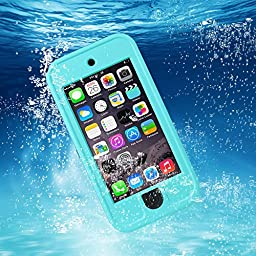 iPod 6 Waterproof Case,SAVYOU Apple iPod Touch 6th Generation Waterproof Heavy Defender Shockproof Dirtproof Snowproof Dustproof Sweatproof iPod Touch 6 with Kickstand (Blue)