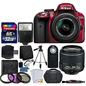 Nikon D3300 24.2 MP CMOS Digital SLR Body (Red) + Nikon AF-S DX NIKKOR 18-55mm VR II Lens + Transcend 32GB SDHC Memory Card + SLR Case + UV Filter Kit + Great Accessory Bundle (Certified Refurbished)
