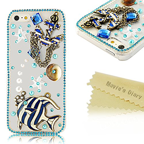 Mavis'S Diary 3D Handmade Crystal Starfish Sea Shell Fresh Summer Flower Lotus Rhinestone Diamond Bling Clear Hard Case Cover For Iphone 4 4S With Soft Clean Cloth (Fish And Sea Star)