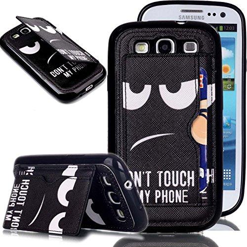 Galaxy S3 Hülle, Galaxy S3 Neo Hülle, Galaxy S III Hülle,Galaxy S III Neo Hülle,ISAKEN Galaxy S3 Hülle Muster, Handy Case Cover Tasche for Galaxy S3, Bunte Retro Muster Druck Back PU Leder Zurück Tasche Case Hülle mit Standfunktion Kartenfächer Kreditkarte Schlitz Halter Hülle Case für Samsung Galaxy S3 I9300 / S3 Neo i9301 - DON'T TOUCH MY PHONE