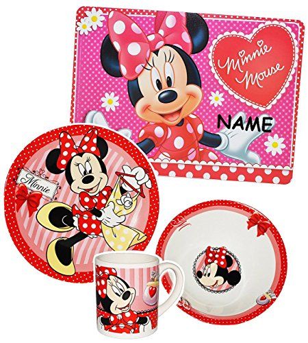 4-tlg-Geschirrset-Minnie-Mouse-incl-Name-Porzellan-Trinkbecher-Teller-Mslischale-Unterlage-Kindergeschirr-Keramik-Frhstcksset-fr-Kinder-Mdchen-Playhouse-Maus-Mickey-Frhstck-Geschirr-rosa-pink