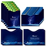 16 RFID Constellation Blocking Sleeves (12 Constellation Series 125khz Credit Card Holders & 4 Starry Sky Passport Protectors) Security Aluminum Walle