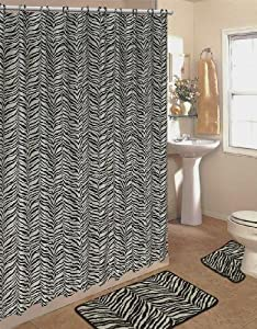 4pcs Bath Rug Set Zebra White Print Bathroom Rug Shower Curtain Mat / Rings