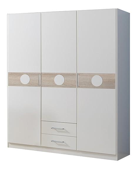Wimex 310173 Kleiderschrank 135 x 181 x 58 cm 3-turig mit zwei Schubkästen, alpinweiß, Absetzung Eiche Sägerau Nachbildung