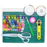Cutehill Deluxe 8 Pieces Quilting Kit Tool Set, A4 Cutting Mat, Classic Stick Rotary Cutter, Quilting Ruler, Large Seam Ripper, Precision Scissors, Tape Measure, Pearl Head Pins, 50 Wonder Clips All Tools for Sewing and Quilting
