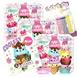 Lobyn Value Packs Num Noms Party Plates and Napkins Serves 16 with Birthday Candles (Color: Serves 16, Tamaño: Single Pack)