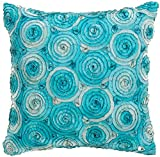 Avarada Triple colour Rose Bouquet Decorative Throw Pillow Cover 16x16 Inch light Blue